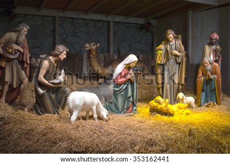 The Nativity scene at the Grotto in Portland OR. - stock photo