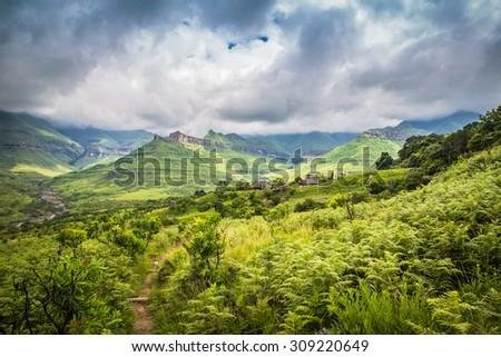 The natural beauty of Royal Natal National Park - stock photo