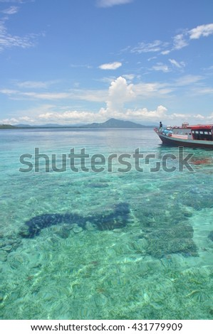 The natural beauty of the beaches and ocean of Bunaken island and north Sulawesi, Indonesia