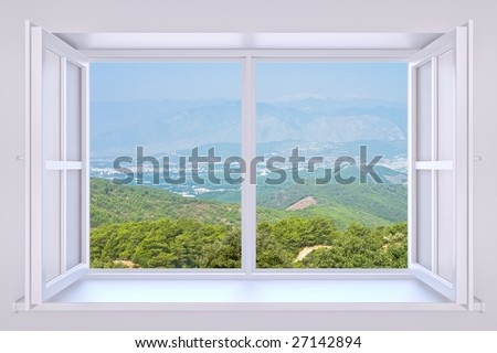 The nature behind a window 3d render with inserted photo