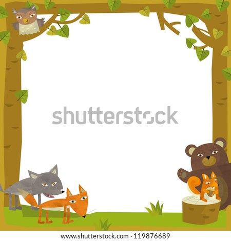 The nature frame - wood - illustration for the children