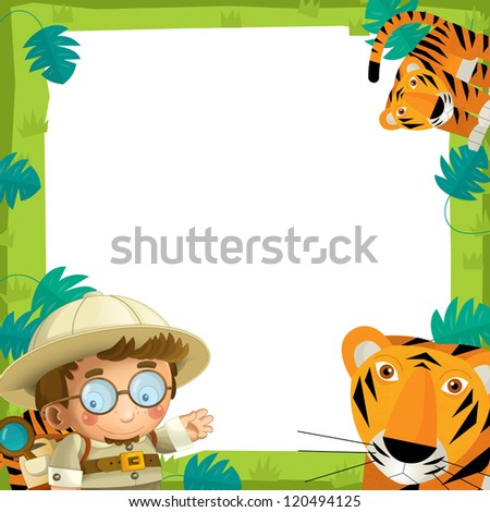 The nature frame - wood - illustration for the children - stock photo