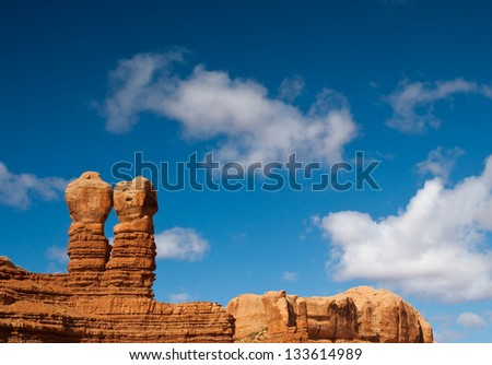 The Navajo Twin rock formation in Bluff, Utah. - stock photo