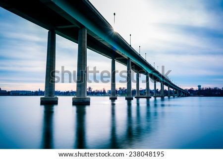 The Naval Academy Bridge, over the Severn River in Annapolis, Maryland. - stock photo