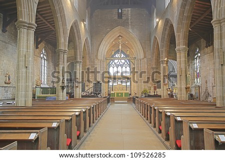 The Nave, The St Mary all Saints Church, Chesterfield, Derbyshire