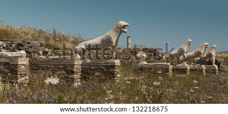 The Naxian Lions Terrace of Delos - stock photo