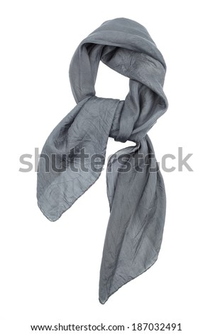 the neckerchief silk grey, tied in a beautiful knot, is isolated on a white background - stock photo