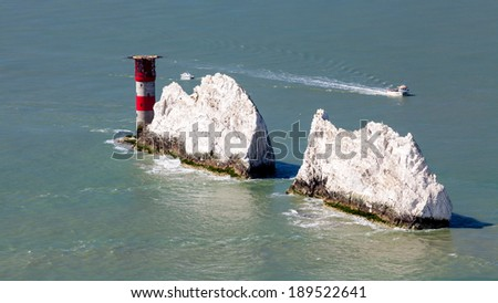 The Needles Lighthouse and rock formation on the Isle Of Wight England UK Europe - stock photo