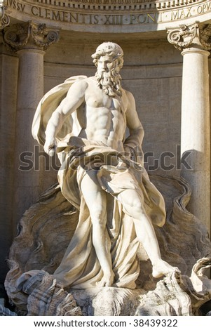 The Neptune statue of the Trevi Fountain in Rome, Italy. - stock photo