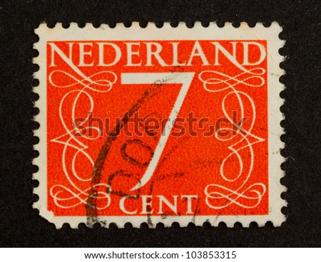 THE NETHERLANDS - CIRCA 1950: Stamp printed in the Netherlands shows the number 7, circa 1950