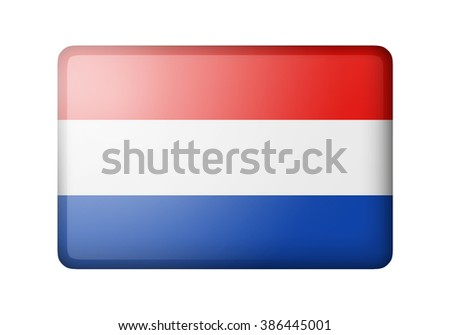 The Netherlands flag. Rectangular matte icon. Isolated on white background. - stock photo