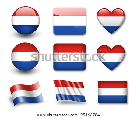 The Netherlands flag - set of icons and flags. glossy and matte on a white background. - stock photo