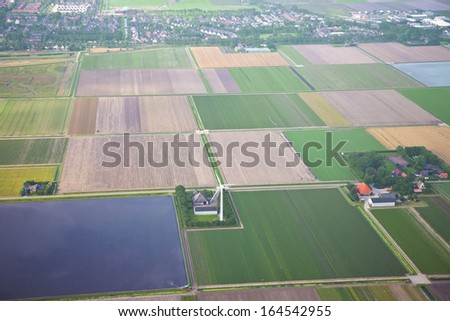 The Netherlands from above. Aerial view at agriculture landscape - stock photo