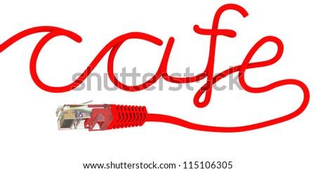 The network cable is twisted in the form of inscriptions cafe. Isolated render on a white background - stock photo