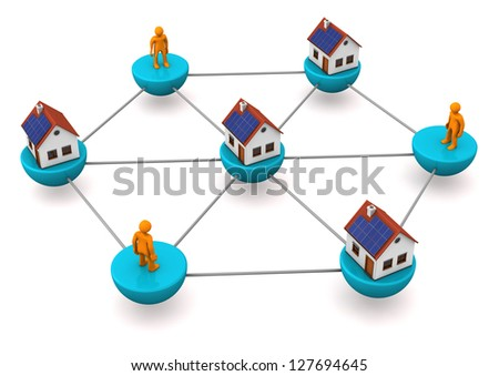 The network with houses and orange toons. White background. - stock photo