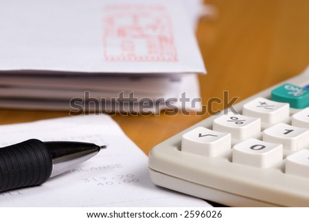 The never ending event of paying bills - stock photo