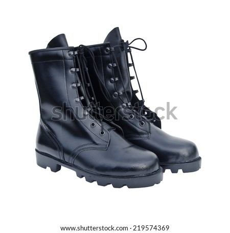 The New Black Leather Army Boots - stock photo