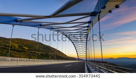 The New Bridge connects the National main road from Kalamata city to Athens - Greece - stock photo