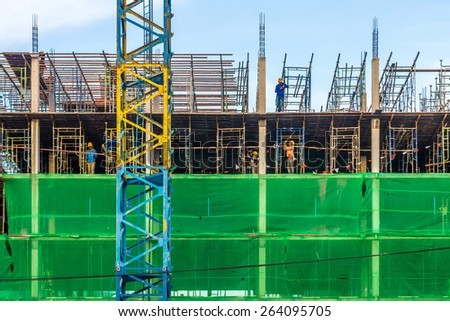 The new building is under construction in Bangkok, Thailand - stock photo