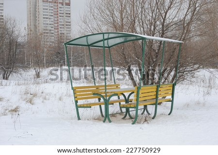 The new gazebo in the winter in Tushino Park, Moscow, Russia - stock photo
