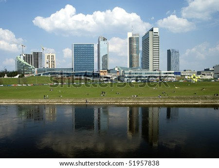 The new modern buildings in Vilnius - the new city - stock photo