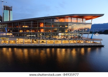 The new, modern Vancouver Convention Center at dawn in Coal Harbor. Vancouver, British Columbia, Canada.