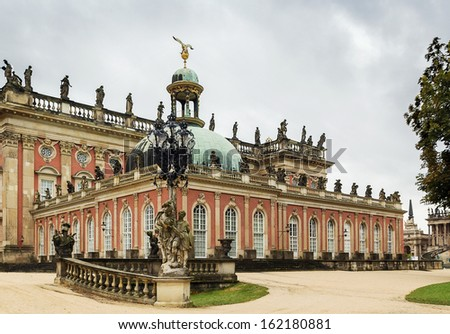 The New Palace is a palace situated in Sanssouci royal park in Potsdam, Germany. The building was begun in 1763 under Frederick the Great and was completed in 1769 - stock photo