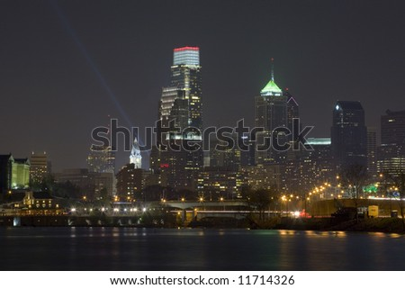 The NEW Philadelphia skyline at night. - stock photo