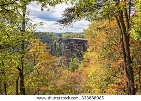 The New River Gorge Bridge In Autumn, seen from the Canyon Rim Visitor Center Overlook, West Virginia - stock photo