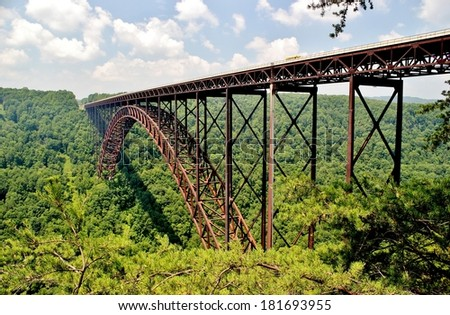The New River gorge Bridge is a  landmark  in West Virginia - stock photo