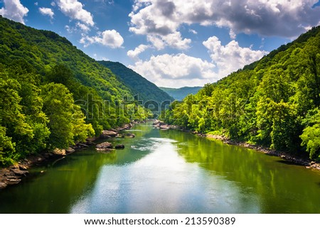 The New River, seen from Fayette Station Road, at the New River Gorge National River, West Virginia. - stock photo