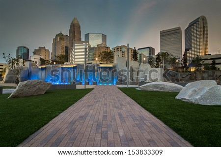 The new Romare-Bearden park in uptown Charlotte, North Carolina - stock photo