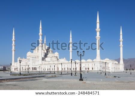 The new Sheikh Zayed Grand Mosque in Fujairah, United Arab Emirates - stock photo