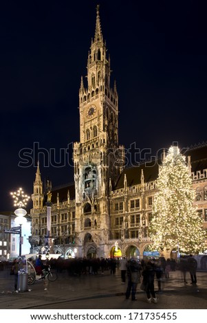 The new town hall of Munich, Bavaria, Germany. Situated in Marienplatz is one of the symbols of Munich - stock photo