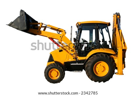 The new universal bulldozer of yellow color on a white background, Isolated - stock photo