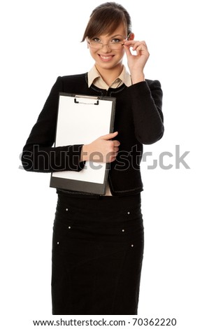 The new worker holds clipboard with the white blank paper in the hand - stock photo