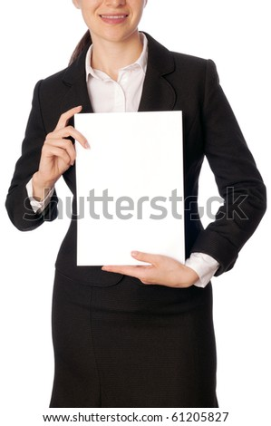 The new worker holds the blank paper in the hand - stock photo