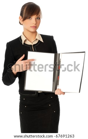 The new worker holds the white blank paper in the folder - stock photo