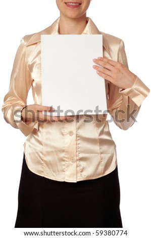 The new worker holds the white blank paper in the hand - stock photo