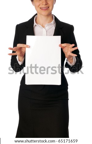 The new worker holds the white blank paper in the hand