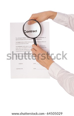 The new worker in medical gloves seeking inconvenient features of contract - stock photo