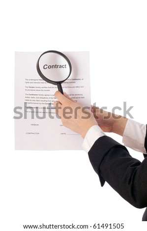 The new worker seeking inconvenient features of contract - stock photo
