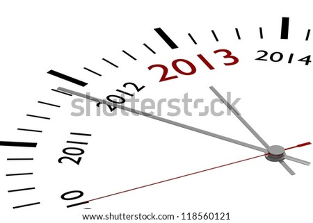 The new year 2013 in a clock - stock photo
