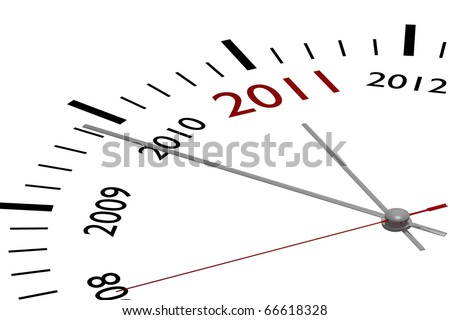 The new year 2011 in a clock - stock photo