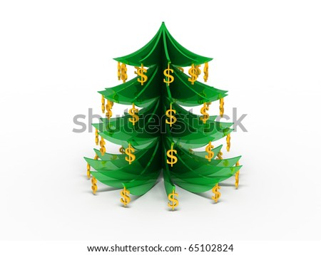 The New Year tree decorated with dollars - stock photo