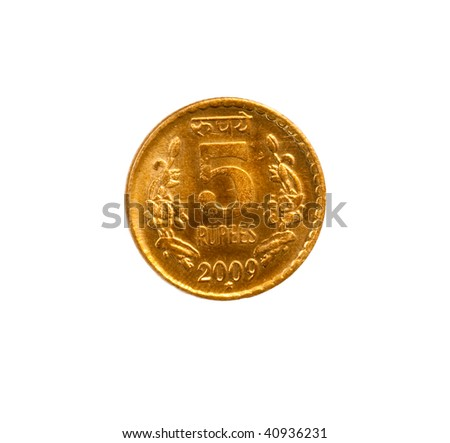 The new yellow colored Indian five rupee coin - released in 2009 - stock photo