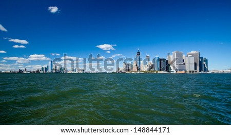 The New York City and New Jersey skyline at afternoon w the Freedom tower