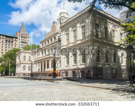 The New York City Hall on a beautiful day - stock photo