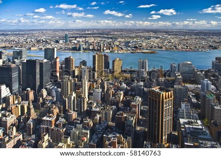 The New York City Manhattan panorama with Queens - stock photo