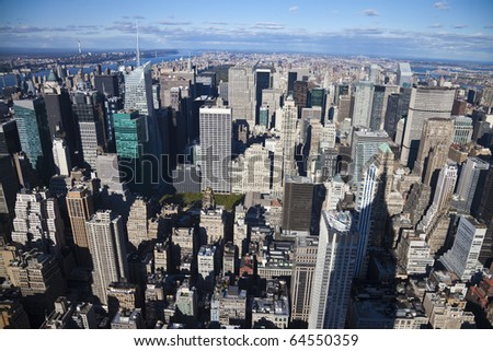 The New York City panorama with Central park and George Washington bridge - stock photo